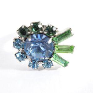 Joomi Lim Blue Green Crystal Fan Ring Sz 6 NWOT